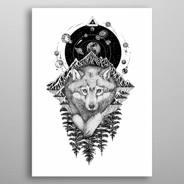 Cosmos Wolf space art line work ink art tattoo style. metal poster