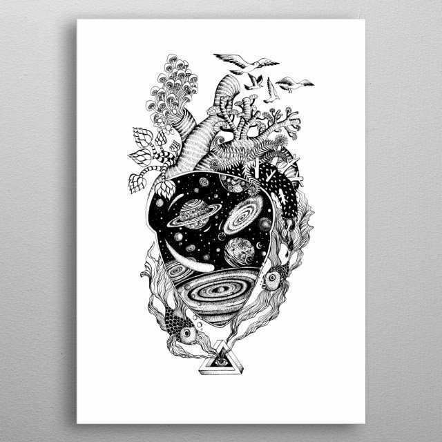 Cosmos Heart space art line work ink art tattoo style. metal poster