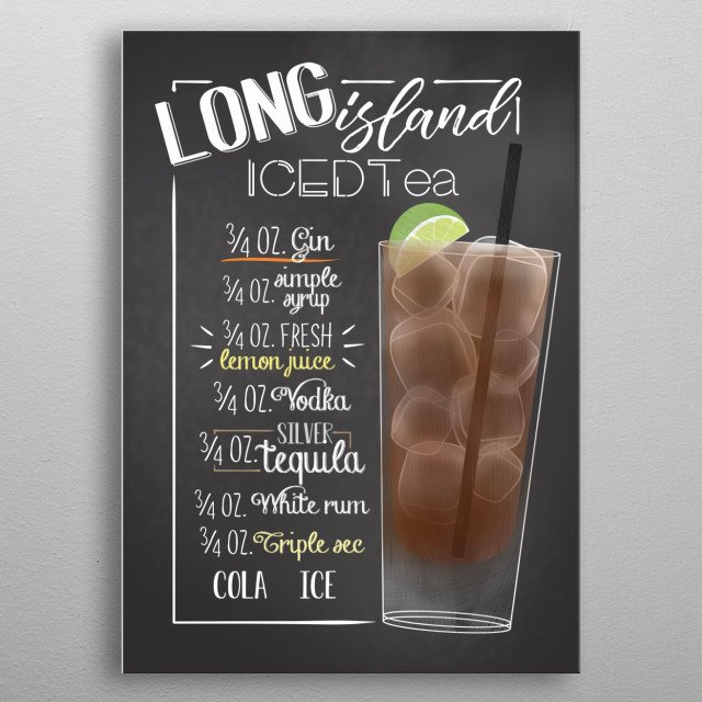 Cocktail Bar - This Cocktail Displate is perfect for cocktail lovers men and women and as decoration for bars Long Island Iced Tea Sign metal poster