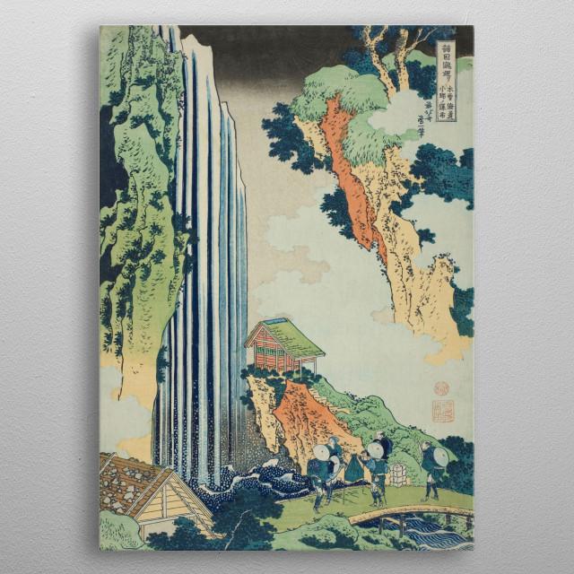 "Ono Falls on the Kisokaido (Kisokaido Ono no bakufu), from the series ""A Tour of Waterfalls in Various Provinces (Shokoku taki meguri)"" metal poster"