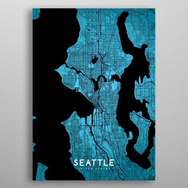 Seattle map metal poster