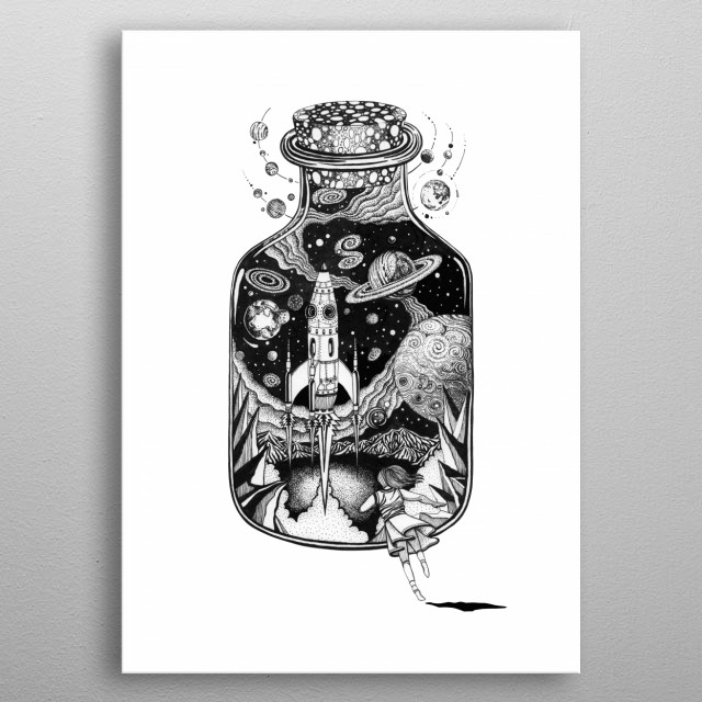 Cosmos Run space art line work ink art tattoo style. metal poster