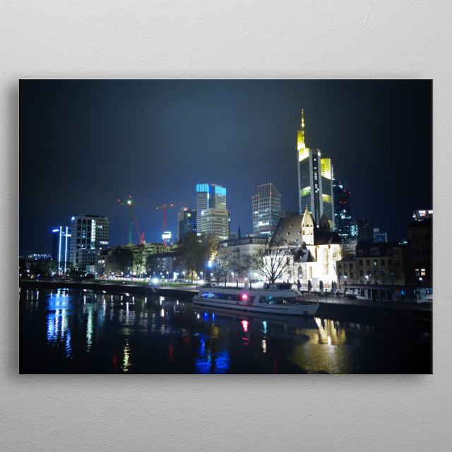 The city of Frankfurt an Main by night View on the Commerzbank Tower metal poster