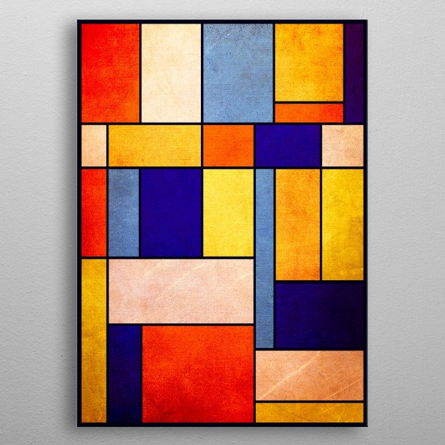 Abstract geometric design -- inspired by Piet Mondriaan -- by Ron Trickett metal poster
