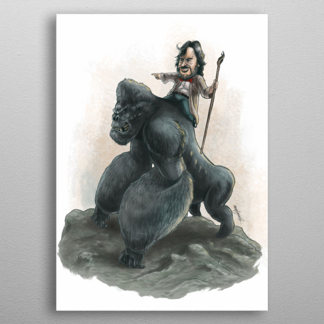 A caricature of Peter Jackson riding his King Kong! metal poster