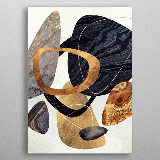 Abstract mid-century arrangement of various pebbles and stones with gold metal poster