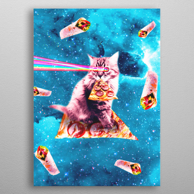 Pick up this funny galaxy kitty cat with pizza design. metal poster