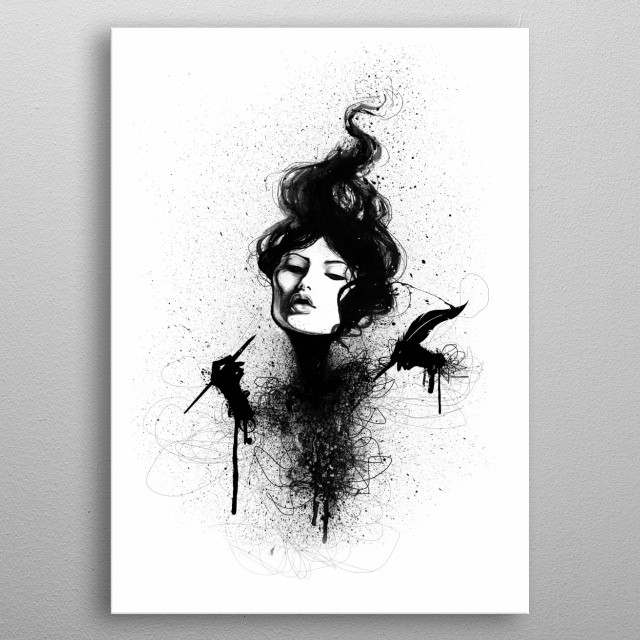 Ink drawing of girl. An ode to ink.  metal poster