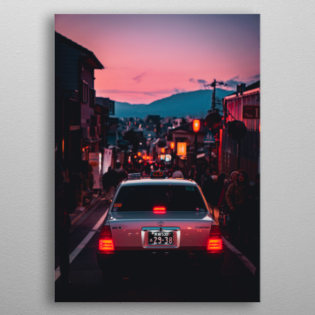 Sunset in Kyoto metal poster