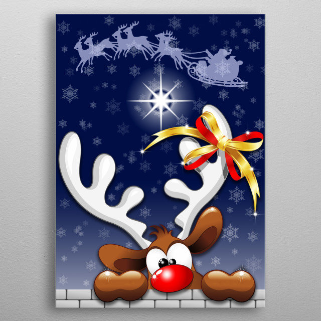"""Cute, puzzled and funny Reindeer, looking like wondering what's going on, or like saying """"...already christmas?!"""". Copyright BluedarkArt. metal poster"""