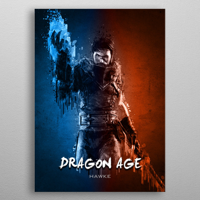 Hawke of Dragon Age with Acrylic effects metal poster