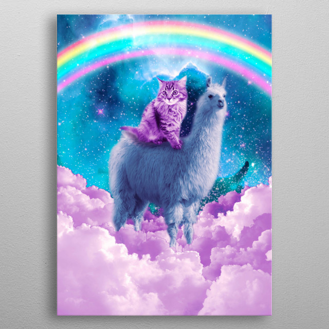 Pick up this funny space llama design today. metal poster