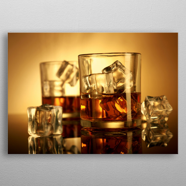 Chilled Whiskey Glasses with Ice Cubes metal poster