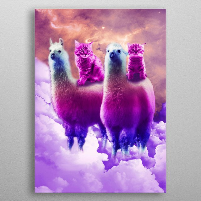 Pick up this funny galaxy llama with cat design. metal poster