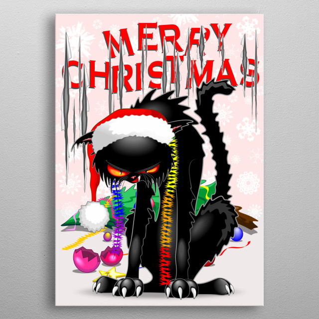 """Furious Cat with Santa Beanie, after destroying a Christmas Tree and ripped the """"Merry Christmas"""" wall paper. Copyright BluedarkArt.  metal poster"""