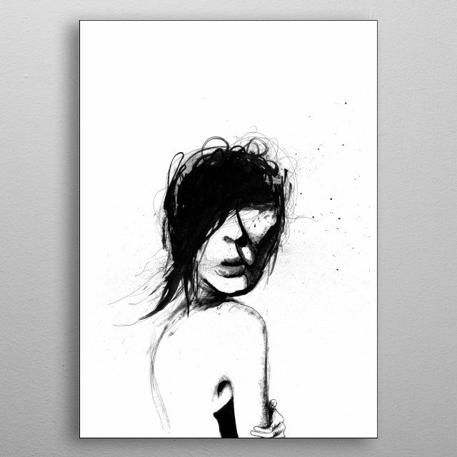 A pen and ink drawing of a woman in peril.  metal poster