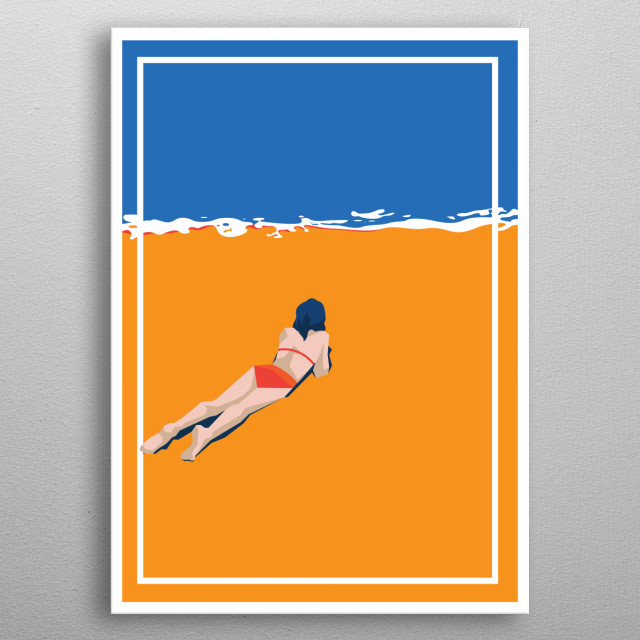 Sexy Girl On The Beach Beautiful Girl Design With Beautiful Sexy Girl In Bikini Just For Beach Lovers Everywhere. metal poster