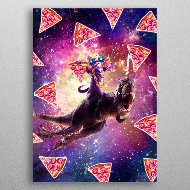 Pick up this epic funny outer space design metal poster