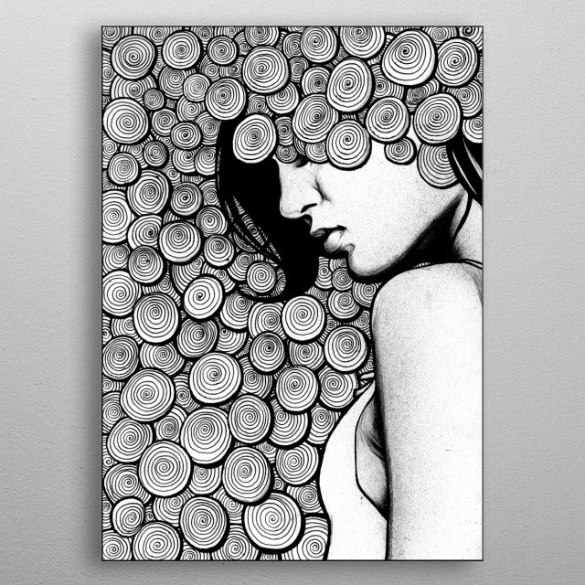 A pen drawing of a woman reflecting.  metal poster