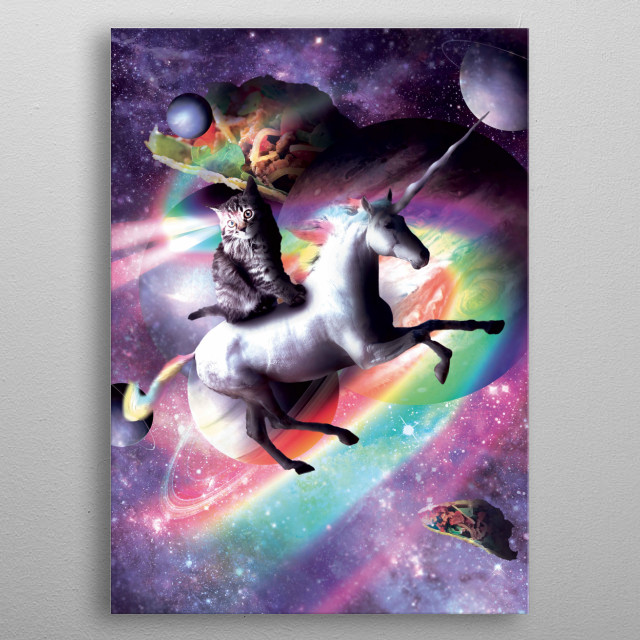 Pick up this crazy galaxy kitty on a flying unicorn design. metal poster
