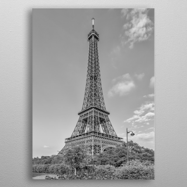 Enjoy a typical view from Promenade d'Australie on Seine riverside. Picturesque monochrome impression from Paris. metal poster