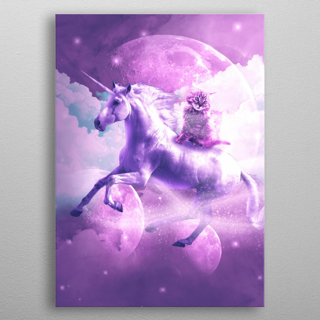 Pick up this epic funny kitten on unicorn design. metal poster