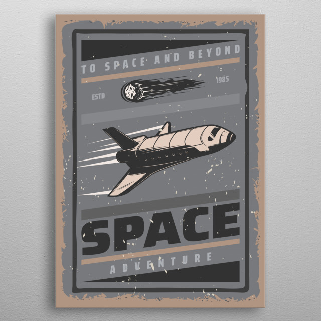 Space and beyond retro poster. metal poster