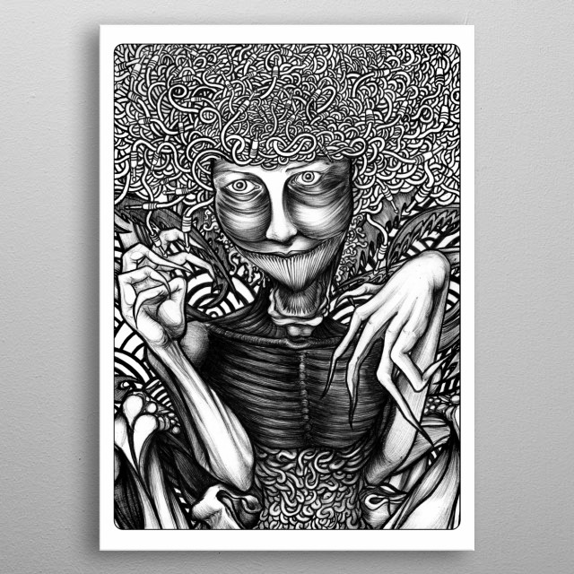A pen drawing of an evil demon.  metal poster