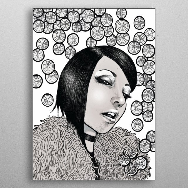 A pen drawing of a fashionable woman with serious attitude.  metal poster