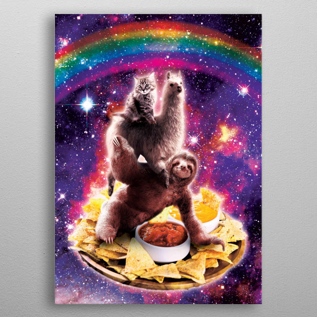 Pick up this funny outer space galaxy cat riding llama riding sloth on tortilla corn chips design. metal poster