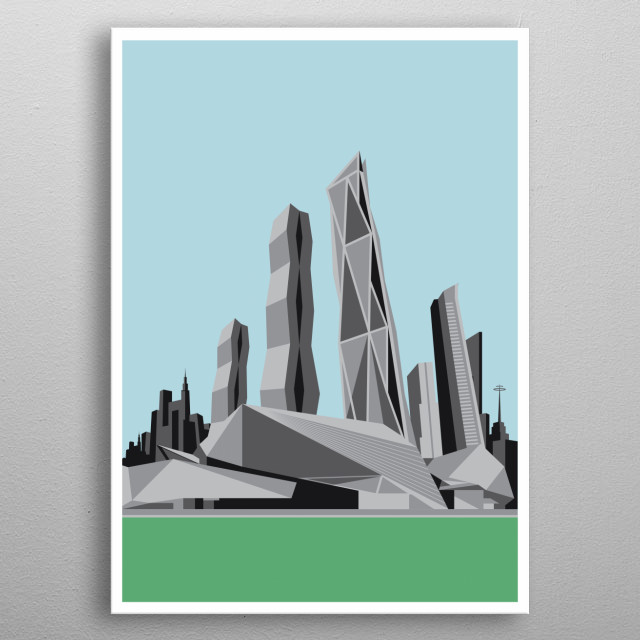 Art Deco Buildings illustration Design Just For Art Deco Lovers Everywhere, metal poster