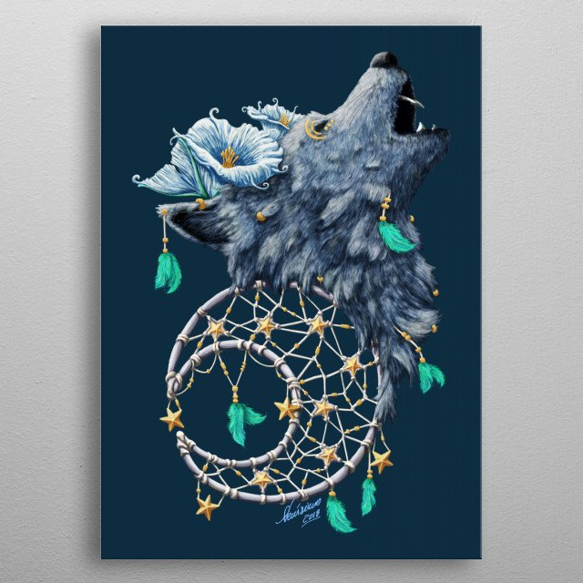 Digitally painted featuring a wolf with moonflowers and a moon shaped dreamcatcher with stars. metal poster