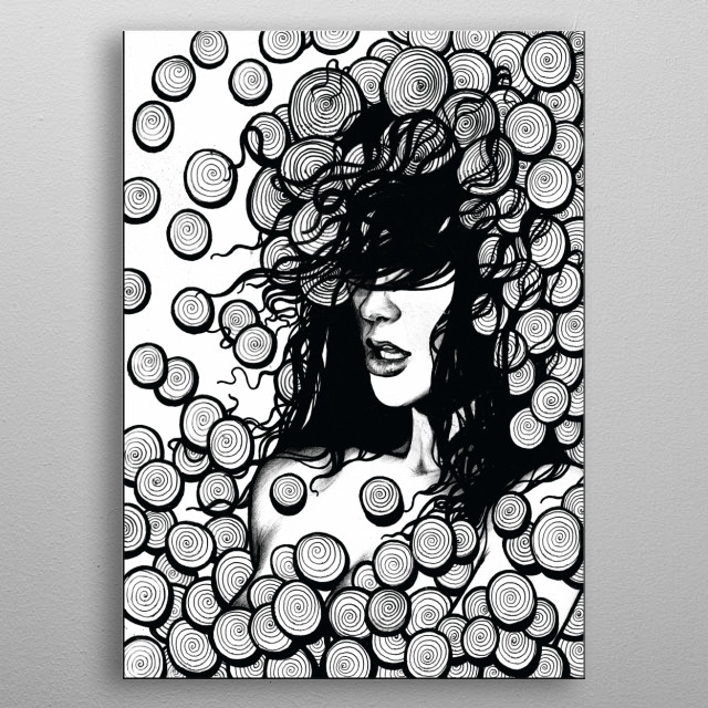 A pen drawing of a girl in trouble.  metal poster