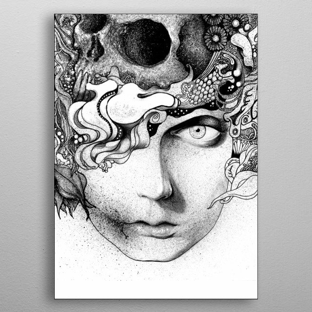 A pen and ink drawing of a mythical figure.  metal poster