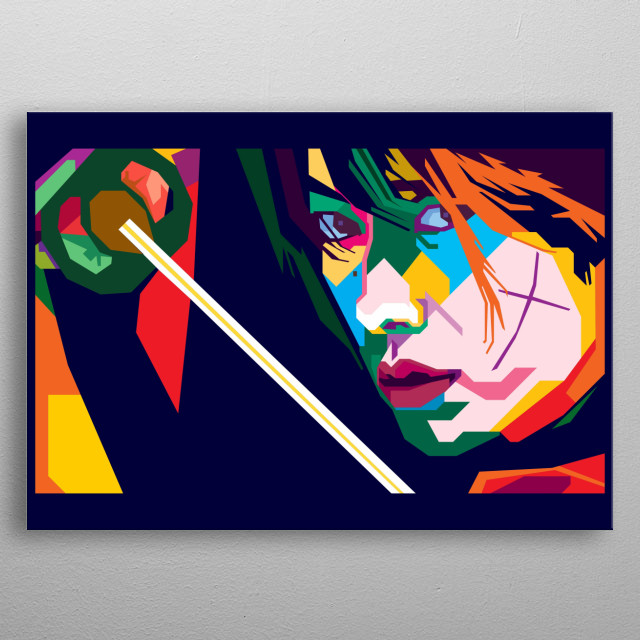 Kenshin Himura Design Illustration in Wpap Style. Background and Wallpaper with Colorful metal poster