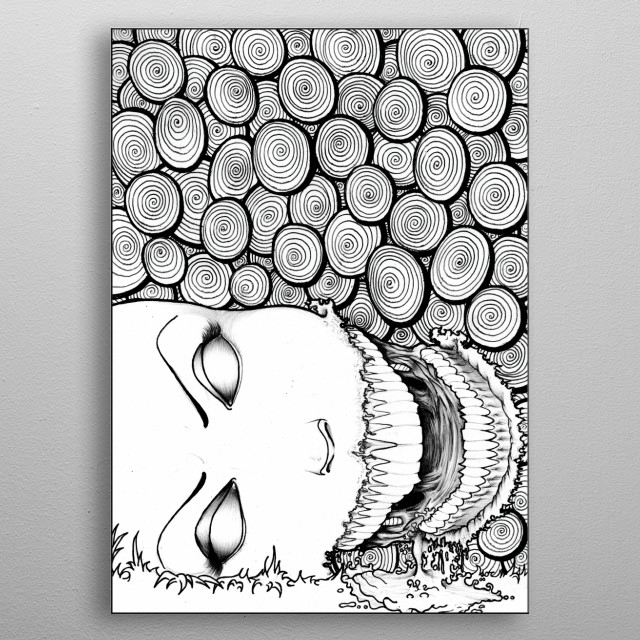 A pen drawing of a decapitated robot.  metal poster