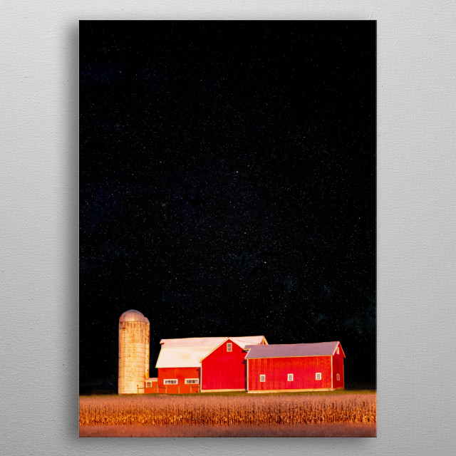 A red barn against the night sky featuring the constellation, Cassiopeia. I created this photomontage from two of my original photos.  metal poster
