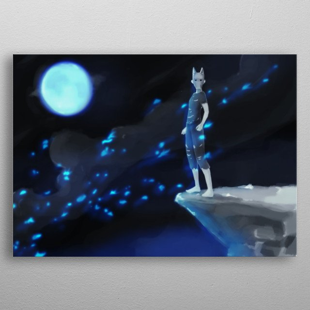 A pagan ritual, a wild boy with a wolf mask. metal poster