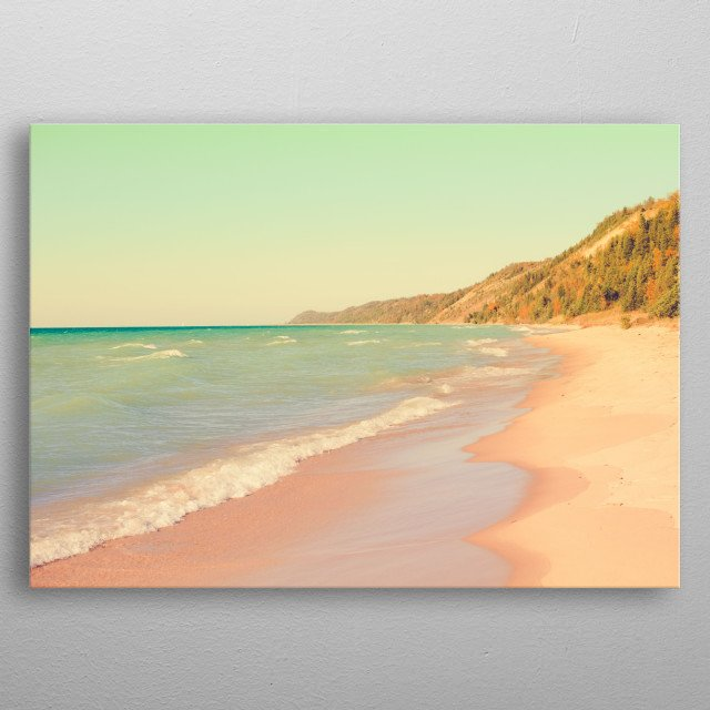 It was a magical day listening to the waves and water as I wandered along the beach. metal poster