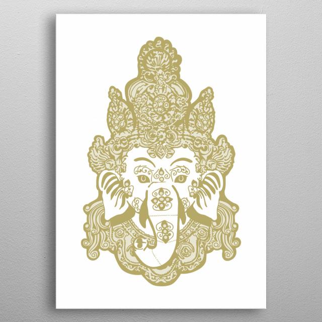 Gold Hindu lord Ganesha metal poster