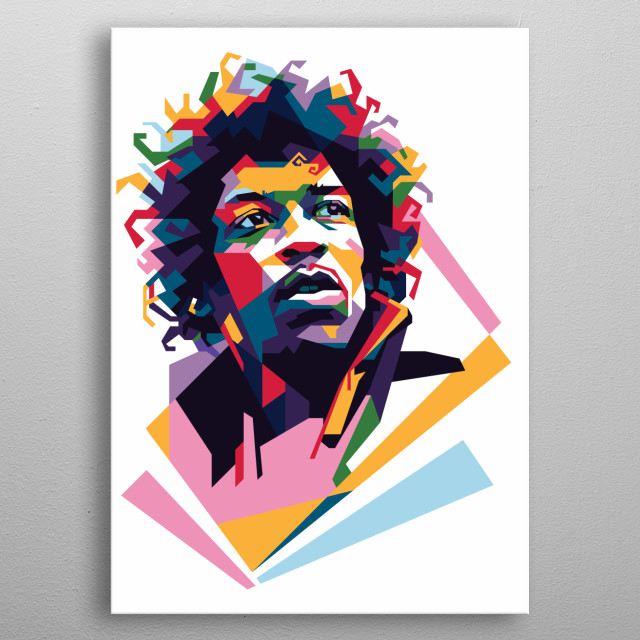 Jimy Hendrix in Wedha's Pop Art Portrait Style.   metal poster