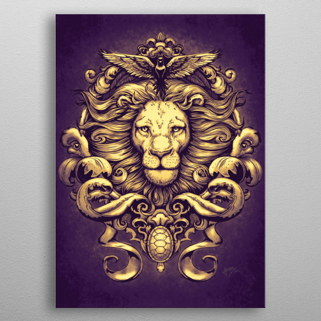 Lion in regal purple, inspired by damask patterns and representing the wild natural world. By Paxdomino metal poster