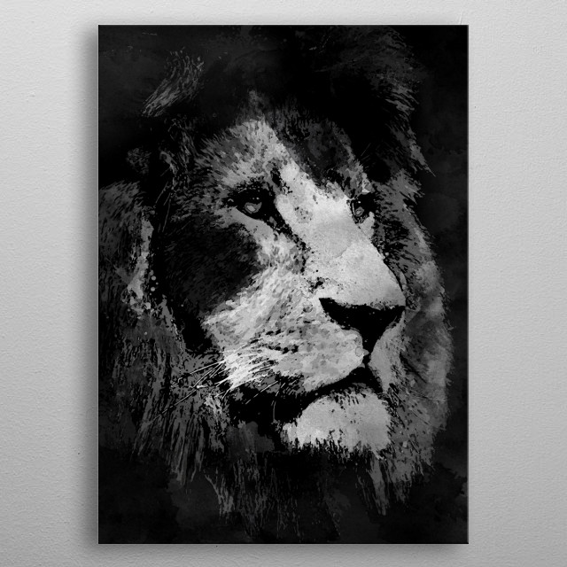 Black and White lion submission for the Black and White displate contest. metal poster