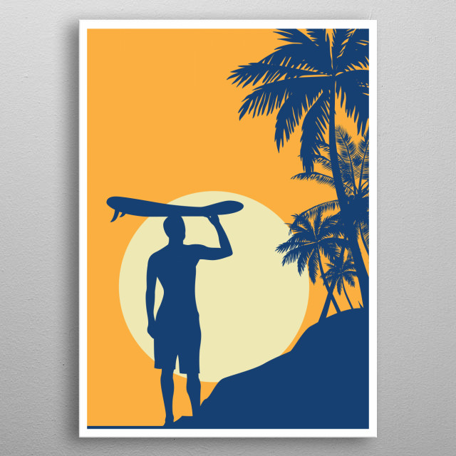 Surfer In Sunset With Palms Design Just For Surfing Lovers Everywhere. metal poster
