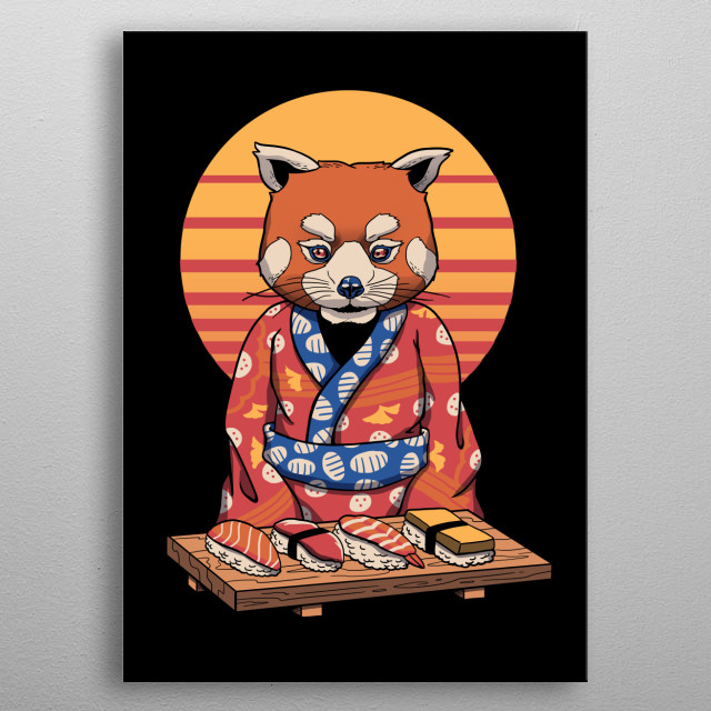 Rad panda in ukiyo-e synth-wave style. metal poster