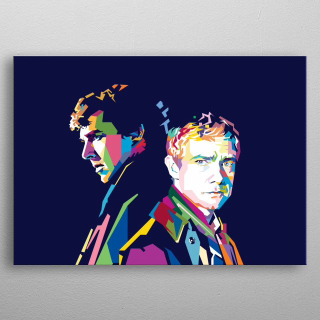 Sherlock Holmes and John Watson Benedict Cumberbatch and Martin Freeman metal poster