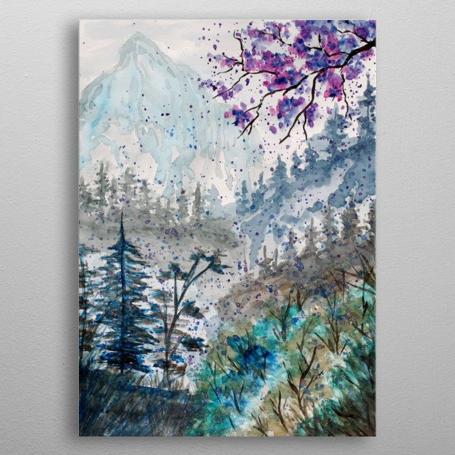 a traditional watercolor landscape painting of a forest and mountains in the gof metal poster