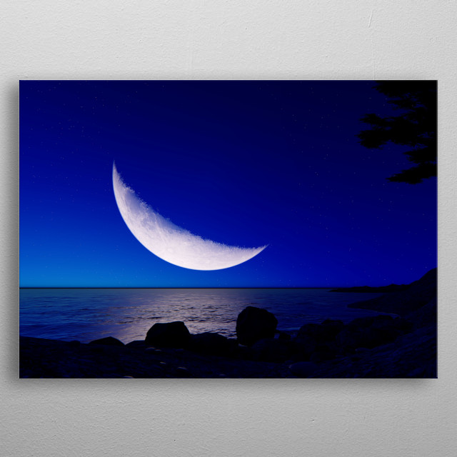 Moon fly over the beach metal poster