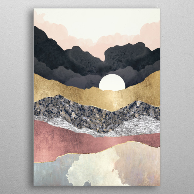 Abstract landscape of a frost reflection with gold, silver and blush metal poster