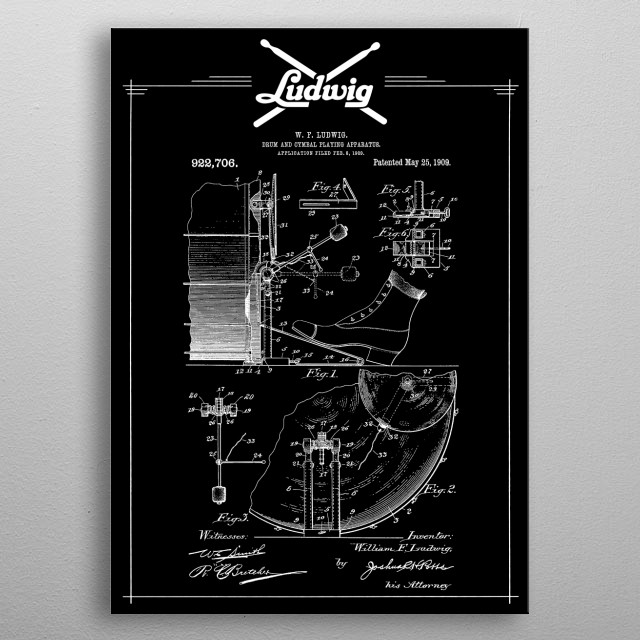 Vintage Ludwig Drum and Cymbal Patent Blueprint -1909 - Music,Jazz,Rock,Blues,Metal  metal poster